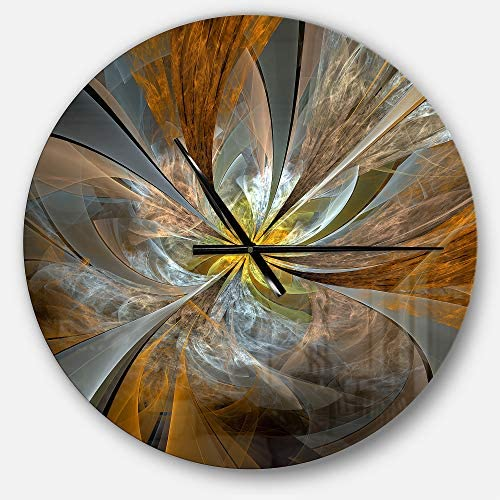 Designart Yellow Symmetrical Fractal Flower Oversized Modern Metal Clock Circle Wall Decoration Art 23x23 Inches Home Kitchen Amazon Com