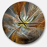 Designart Yellow Symmetrical Fractal Flower' Oversized Modern Metal Clock, Circle Wall Decoration Art, 23x23 Inches