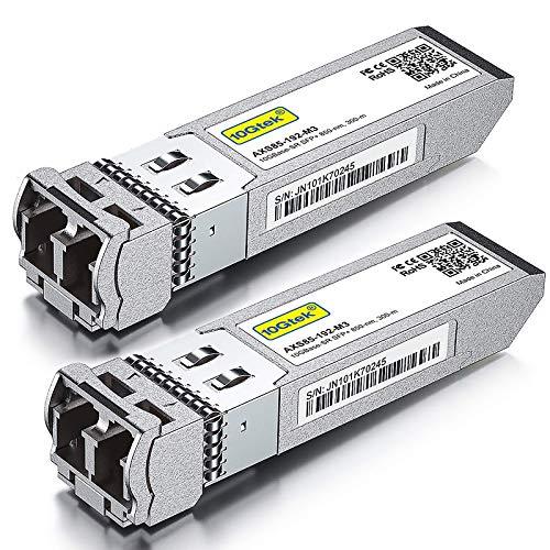 [Paquete de 2] Transceptor multimodo SFP+ compatible con Intel E10GSFPSR - Módulo de fibra 10GBase-SR SFP+, conector LC dual, 850 nm, 300 m