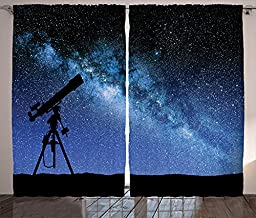 Ambesonne Galaxy Curtains, Telescope Valley Under Starry Night Sky Milky Way Atmosphere Galaxy Astronomy, Living Room Bedroom Window Drapes 2 Panel Set, 108
