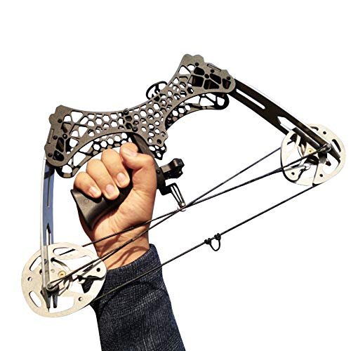SHARROW Archery Mini Compound Bow and Arrows Set 35lbs Adult Youth Hunting Bows RH/LH for Outdoor Bow Hunting Fishing (Silver)