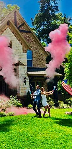 Gender Reveal Surprise| 18 Inch Gender Reveal Powder Cannons Bundle (2 Pink)| Pink and Blue Powder Dispenser| 8 Free Gender Reveal Party Balloons