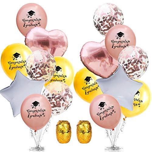 TOYANDONA 2 Set Palloncini Festa di Laurea Palloncini Decorazione Oro Rosa Kit per Feste per Cerimonia di Laurea