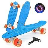 shownicer Skateboard Complet Mini Cruiser Skate Penny Board 22'/57cm Skateboard Plastique pour Enfants Filles Garçons Débutant Ado Adulte, LED Roues Lumineuses & Roulements ABEC-7 & Tout-en-Un T-Tool