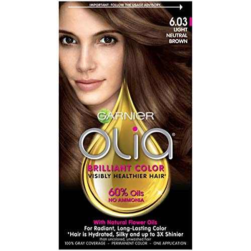 Garnier Olia Ammonia Free Permanent Hair Color, 100 Percent Gray Coverage (Packaging May Vary), 6.03 Light Neutral Brown Hair Dye, Pack of 1