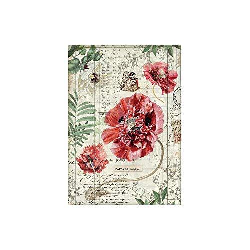 1 foglio Stamperia A4 carta di riso 21 x 29,7 cm per collage e decoupage Papaveri A4.