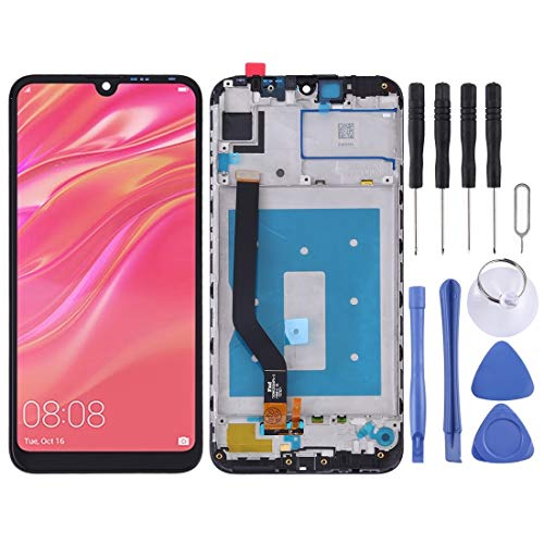 H-HX Display Reparaturset, LCD-Bildschirm und Digitizer Vollversammlung mit Rahmen for Huawei Y7 Prime (2019) (Schwarz) (Color : Black)