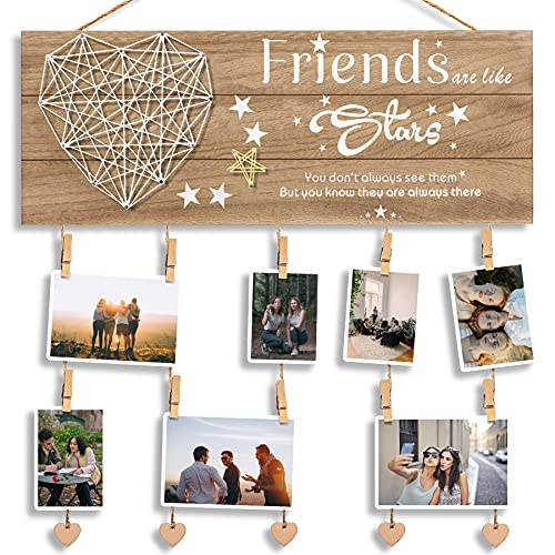 Best Friend, BFF Gifts for Women - Wooden Picture Hanging Board with Clips and Twine - Friendship Gifts for Friends, Presents for Best Friends Female