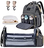 3 in 1 Diaper Bag Backpack Travel Bassinet Portable Baby Bed, Baby Diaper Bag with Changing Station, Foldable Baby Crib with Changing Pad (Grey)