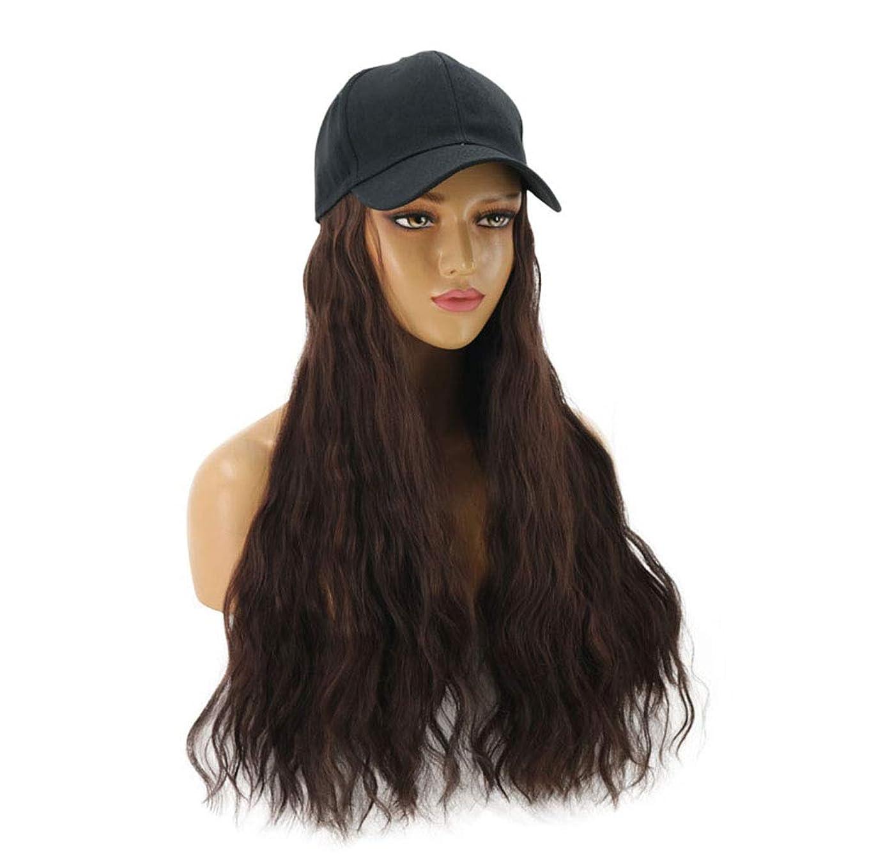 受取人できる外向きヘアエクステンション付き女性野球帽コーンウェーブヘアエクステンション付きブラックハット付き天然人工毛毎日のパーティー用ワンピース