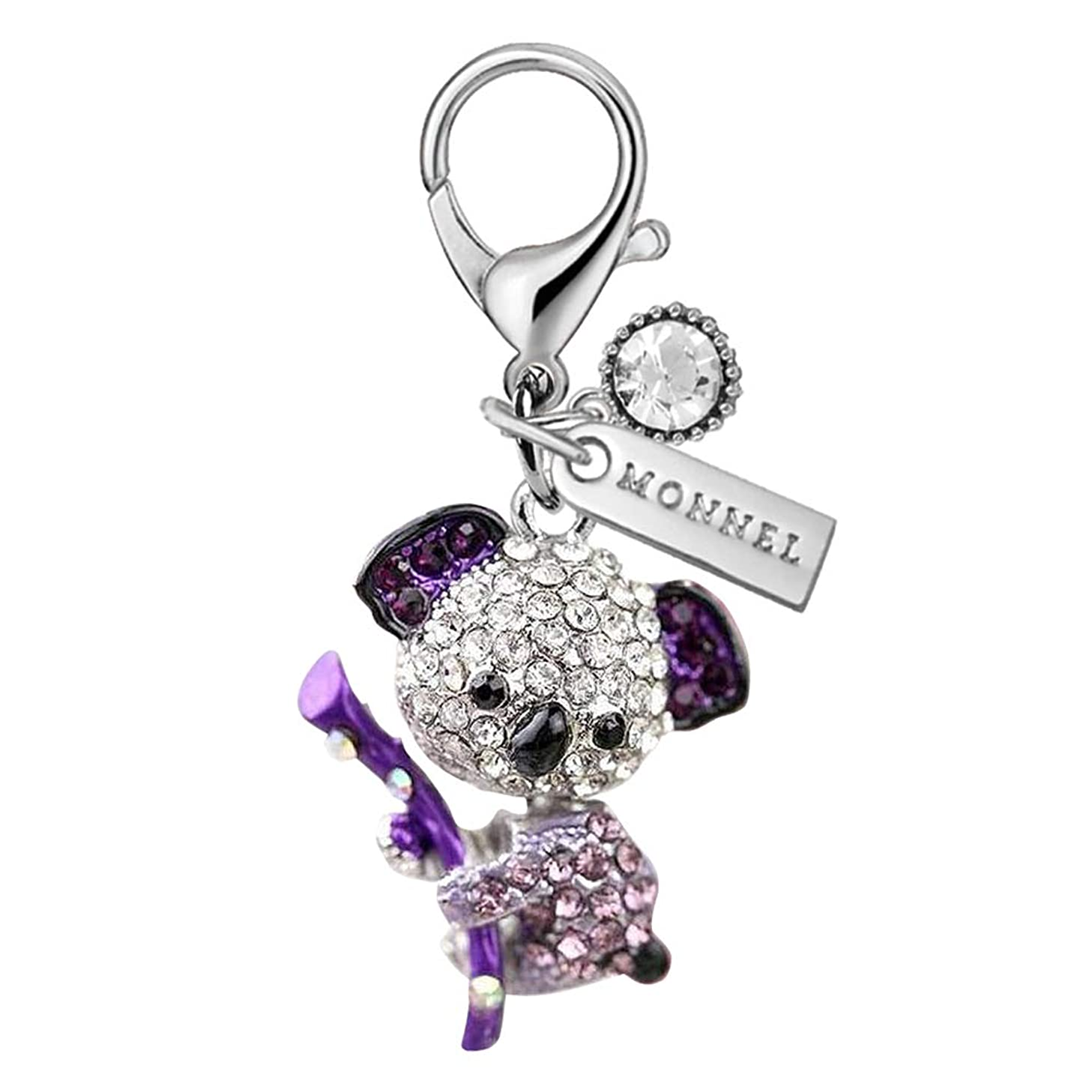 MC135 New Cute Purple Crystal Koala Bear Lobster Clasp Charm Pendant with Pouch Bag (1 Piece)