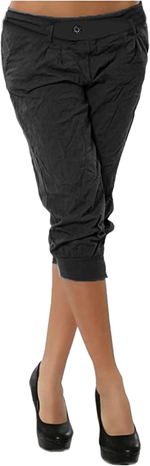 Damen Arbeitskleidung Caprihose Hoher Taille Bleistifthose Slim Fit Freizeithose Trainingshose Fitness mit Einfarbige GroßE GrößE Kurzhose