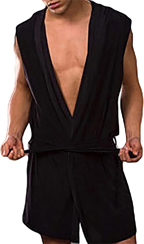 Men Summer Dress Bath Robe Sexy Pajamas Sleepwear Sleeveless Hooded Casual Kimono Bathrobe Nightgown Robe Solid Color