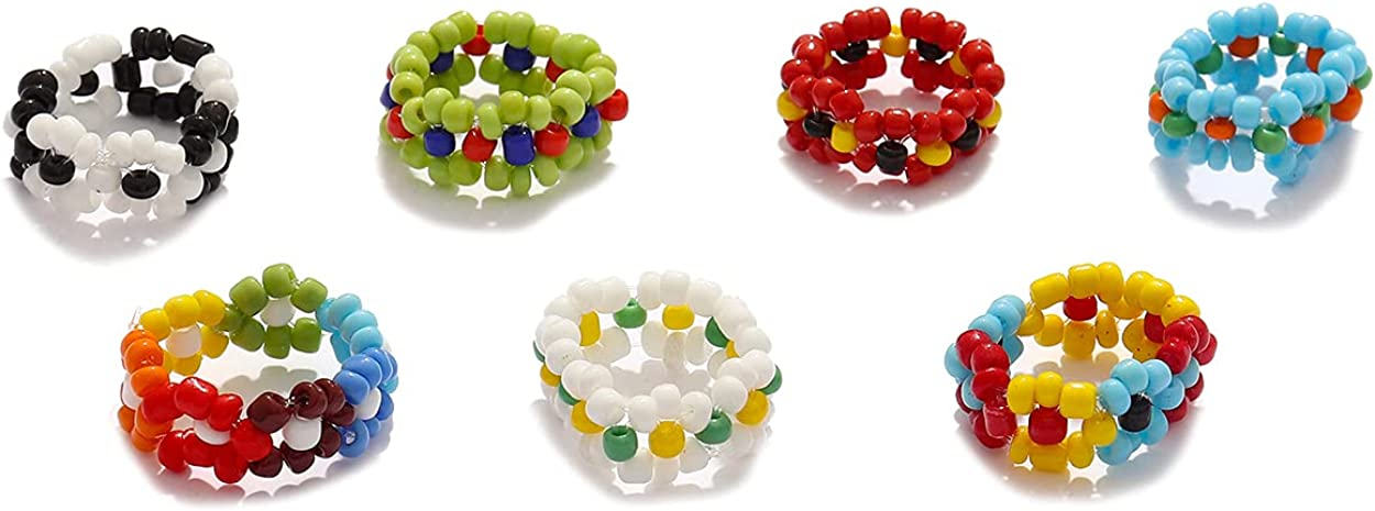 Stacking Resin Rings Set for Girls Bohemian Cute Dome Resin Rings Braided Beads Flower Rings Geometric Dyed Open Acrylic Band Rings Beaded Weaved Band Rings Set