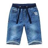 YoungSoul Vaqueros Cortos para niños - Pantalones Cortos Vaqueros con Vuelta en el bajo - Bermudas de Jeans Verano Azul 164/13-14 años