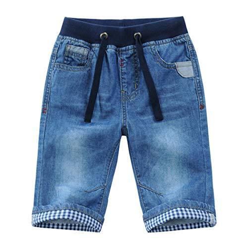 YoungSoul Jungen Jeans Shorts - Kurze Hose Kinder Sommer Jeanshose - Jeansshorts mit aufgerolltem Saum und Gummizug Blau 116/5-6 Jahre