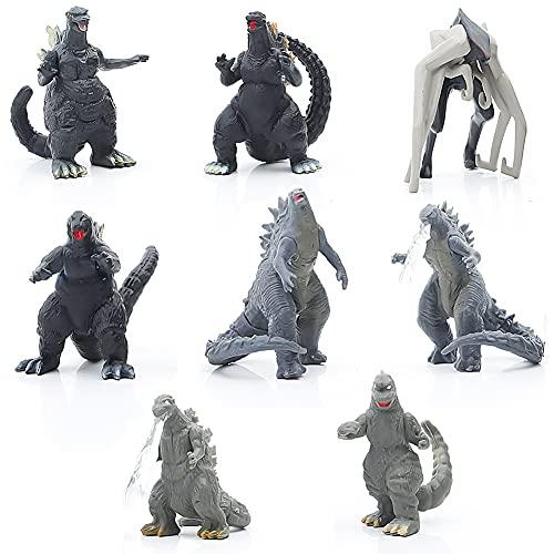 Figuras de Godzilla - CBOSNF 8 pcs Adornos Godzilla, Juego de Juguetes de Dinosaurio,Ideal Como Regalo para Niños