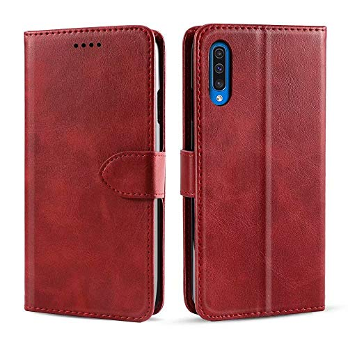 NOKOER Leather Case for Nokia 2.4, Flip Cowhide PU Leather Wallet Cover, Card Holder Leather Protective Phone Case for Nokia 2.4 - Red