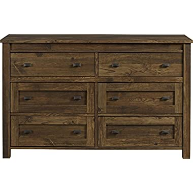 Ameriwood Home Farmington 6 Drawer Dresser, Rustic