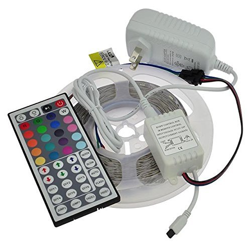 LEDwholesalers 12-Volt 16.4-ft RGB Color-Changing Kit with Controller and IR Remote, Power Supply, and LED Strip in White PCB, 2034RGB-R2+3369+3208