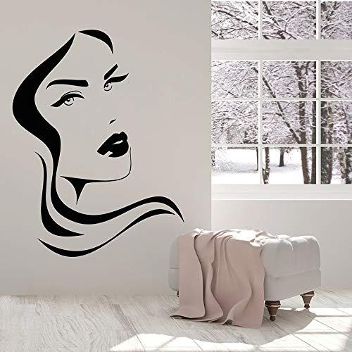 Calcomanía de vinilo para pared, cara de niña, labios, diseño de cabello, salón de belleza, pegatina de pared para dormitorio de niña, decoración del hogar