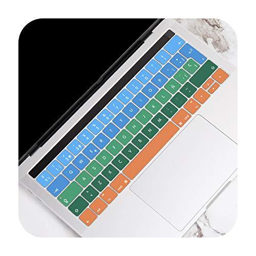 Para MacBook Pro 13 15 pulgadas Touch Bar A2159 A1989 A1706 A1707 A1990 2016-2019 EU Spanish Versión Keyboard Cover Cover Cover Skin Protector-Gradient Blue Green