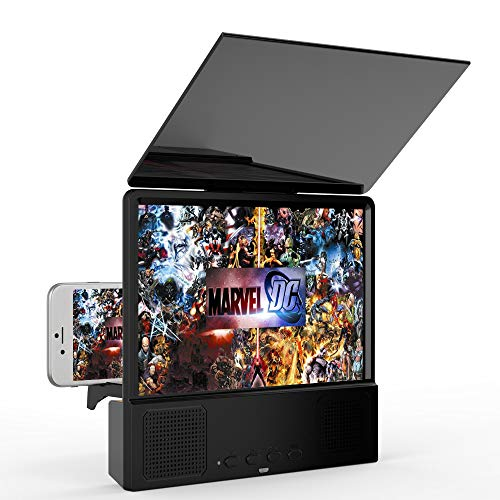 ZGYQGOO 8'' Screen Magnifier Smart Mobile Phone Movies Amplifier HD Portable Phone Projector with Bluetooth Speaker for All Smartphones Android and iPhone (Black)