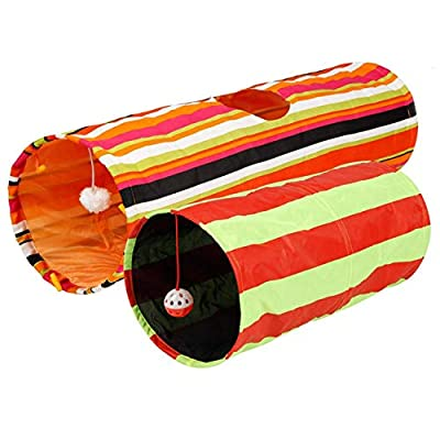Pet Magasin Collapsible Cat Tunnel Toys (2 Pack) Interactive Pet Tubes with Fun Balls and Crinkle Peep Hole Design for Small Medium & Large Cats Dogs Rabbits and Other Small House Animals from Pet Magasin