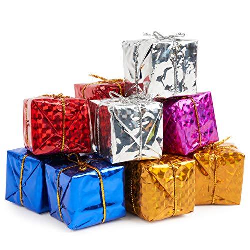 80 Mini Cajas de Regalo, Decoración Colgante de Árbol de Navidad, 4cm| Pequeño Paquete de Navidad, Adornos del Árbol de Navidad| Colores Brillantes y Vibrantes| Decoración y Fiestas Navideñas.