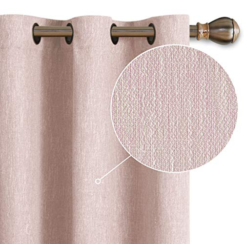 LORDTEX Burlap Linen Look Textured Blackout Curtains for Bedroom with Thermal Insulated Liner - Heavy Thick Grommet Window Drapes for Living Room, 40 x 84 Inch, Blush, Set of 2 Panels