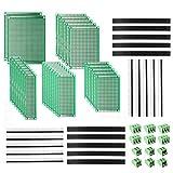 DEYUE Kit de 60 placas de circuitos impresos perforadas en PCB | 28 placas de circuito de prototipos de doble cara | 20 conectores hembra y macho | 12 bloques de terminales PCB y un feliz bricolaje