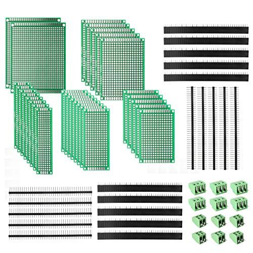 deyue 60PCS PCB perforiert bedruckt Stromkreise Boards Kit | 28doppelseitig Prototyping PCB Leiterplatten | 20weiblich/männlich Header Stecker Pin | 12PCB Terminal Blocks und A Happy DIY