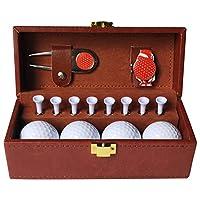 ゴルフレザーボックスセットゴルフグリーンフォークTEEハットクリップレザーボックスセット (レッド)