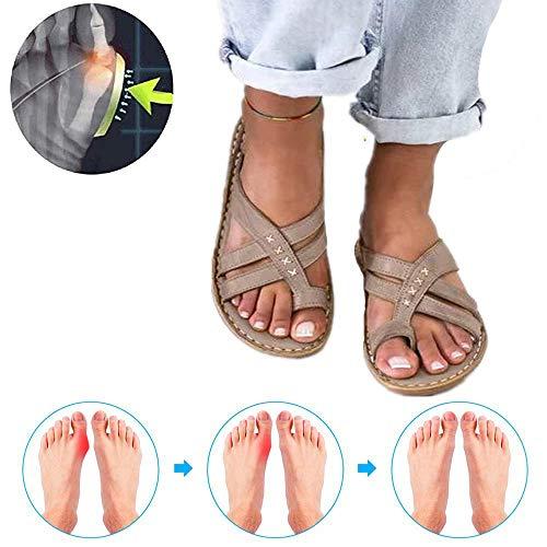 YXH Sommer Outdoor Damen Strand Schuhe rutschfeste Badelatschen Offen Zehentrenner Flip Flop Plattform Sandale Hausschuhe Bunion Splints Big Toe Hallux Valgus Für Die Behandlung,a,39