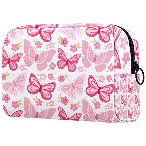 Neceser de viaje, bolsa de viaje impermeable, bolsa de aseo para mujeres y niñas, mariposas volando