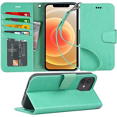 Arae Case for iPhone 12 and iPhone 12 Pro Wallet Case Flip Cover with Card Holder and Wrist Strap for iPhone 12/12 Pro 6.1 inch - Green