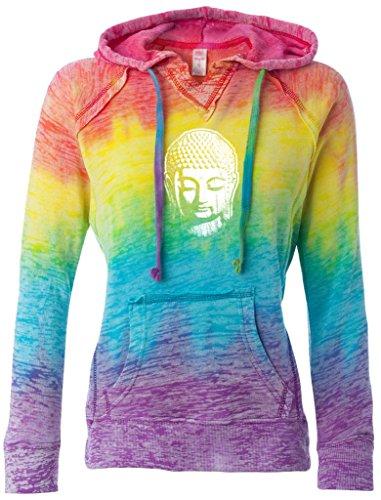Ladies Little Buddha Head V-Hoodie, 2XL Rainbow Stripe