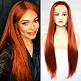 BLUPLE Long Straight Lace Front Wigs #360 Copper Red Natural Heat Resistant Ginger Orange Red Synthetic Hair Half Hand Tied Wigs for Cosplay Daily Wear (22 inches, Straight,Copper Red)