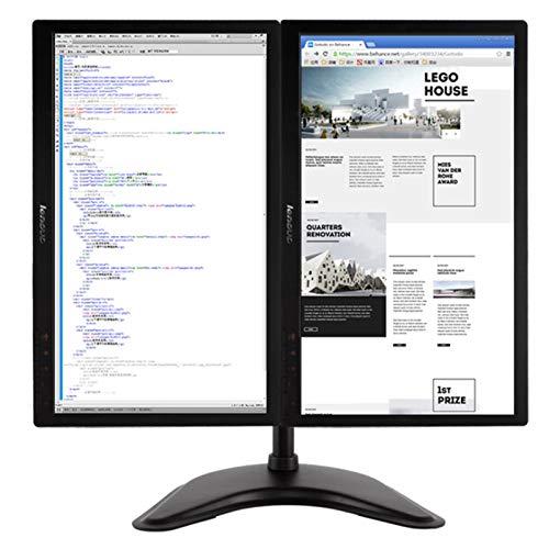 """sunyu Soporte de Monitor de Pantalla Dual, para Pantallas de 13-27 """" Altura Ajustable Instalación fácil Negro"""