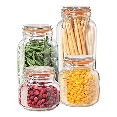 Oggi 4 Piece Airtight Glass Canister Set with Clamp Lids and Silicone Gaskets, Clear