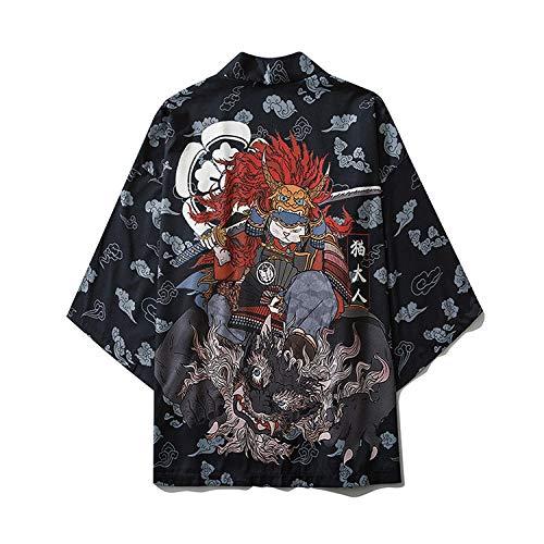 LIGUANGWEN Bata Carretera Kimono Japonés Ningún Botón Camisa Floja De La Impresión De Gato De Dibujos Animados For Adultos Hanfu Chaqueta Negro Manto (Color : Black, Size : L)