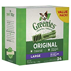 Contains one (1) 36 oz. 24-count pack of GREENIES Original Large Natural Dental Dog Treats; Natural Dog Treats Plus Vitamins, Minerals and Other Nutrients The unique texture of GREENIES Dog Chews cleans down to the gumline to fight plaque and tartar ...