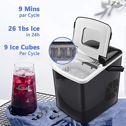 BOSSETY Eismaschine, tragbare Eiswürfelmaschine für Küchenarbeitsplatte Macht große, mittlere und kleine Würfel,Tragbar | Für kalten Softdrinks, Kaffee, Tee, Whisky und Bier für Partyreisen