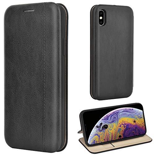 Leaum iPhone XS Hülle, iPhone X Handyhülle Leder Tasche Flip Hülle für Apple iPhone XS/X Schutzhülle (Schwarz)