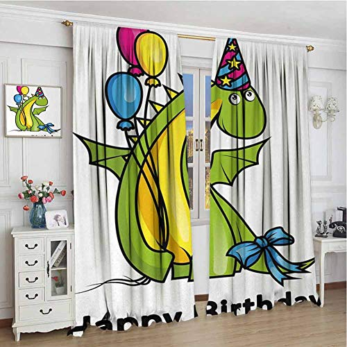 wonderr keuken gordijnen W84 x L72 Inch, staaf pocket gordijnen Thermische geïsoleerde panelen home decor, Kids verjaardag, Little Baby Dinosaur Animal Party Event met kleurrijke ballonnen, Varen Groen en Geel