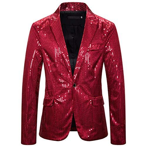 ZHUQI Jacke Herren Jacke Herren Trend Pailletten Business Casual Holiday Kleid Herren Jacke Host Kleid Bar Nachtclub Party Kostüme Rockband Schlanke Herren Übergangsjacke F-Red M