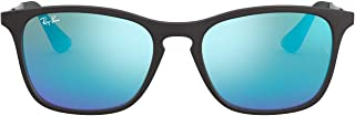 Ray-Ban Junior Unisex-Child RJ9061SF Asian Fit Sunglasses, Rubber Black/Light Green Mirror Blue, 52 mm