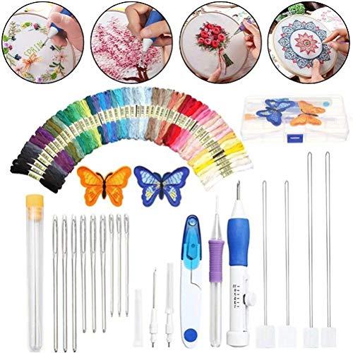 Cali Jade 69pcs Punch Needle Stickset, Anfänger Stickerei Kreuzstich Set zum Nähen von Strickfäden, DIY Stickerei, mit Stickgarn Set Sticktüchern, Nadelsatz und Anderen Erforderlichen Werkzeugen