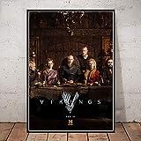 AHJJZS Póster De Vikingos, Serie De TV Clásica, Impresiones En Lienzo, Impresiones, Cuadros De Pared para Sala De Estar,...