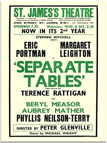 Separate tables, Terrence Rattigan, Theatre Poster (30x40cm Art Print)